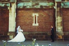Braut und Bräutigam gehen miteinander entlang eine alte Backsteinmauer Stockbilder