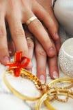 Braut-und Bräutigam-Hände mit Ringen Stockfotografie