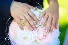 Braut-und Bräutigam-Holding-Hände Lizenzfreies Stockfoto