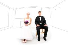 Braut und Bräutigam in ihrem neuen Haus Stockfoto