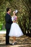 Braut und Bräutigam im Park Lizenzfreie Stockfotos