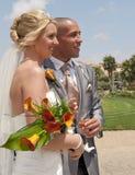 Braut und Bräutigam im Sonnenschein Stockbild