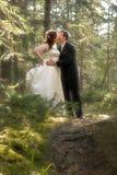 Braut und Bräutigam im Wald mit weichem Fokus Stockfoto