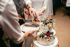 Braut und Bräutigam schnitten rustikale Hochzeitstorte auf Hochzeitsbankett mit Lizenzfreies Stockfoto