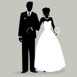Braut und Bräutigam Silhouette - Illustration Stockfotografie