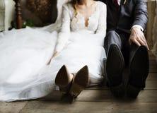 Braut-und Bräutigam-Together Love Happiness-Hochzeits-Heirat stockbild
