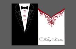 Braut-und Bräutigam Wedding-Einladung lizenzfreie abbildung