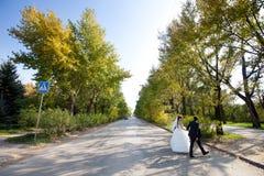 Braut und Bräutigam, welche die Straße kreuzen Stockfotografie