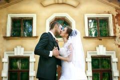 Braut- und Bräutigamküssen stockfoto
