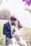 Braut- und Bräutigamküssen stockbild