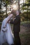 Braut- und Bräutigamkuß bei Sonnenuntergang Stockbild