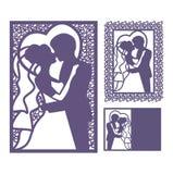 Braut- und Bräutigamschattenbild Laser-Schnitteinladung stockfotografie