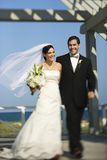 Braut- und Bräutigamgehen. Lizenzfreie Stockfotos