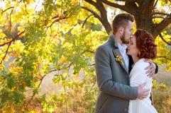 Braut- und Bräutigamumfassung Einstellung des romantischen Herbstes im Freien Stockbild