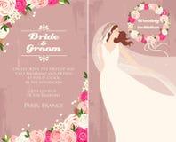 Braut und Rosen stock abbildung