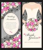 Braut und Rosen lizenzfreie abbildung