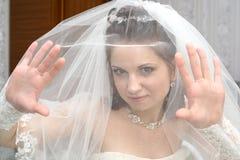 Braut unter Schleier Stockbild