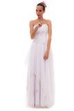 Braut in voller Länge im weißen Hochzeitskleid lokalisiert Lizenzfreies Stockbild