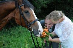 Brautblumenstrauß für das Pferd Stockbild