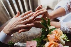 Brautbräutigam trägt den Ring Die Braut mit einer Blume stockbild