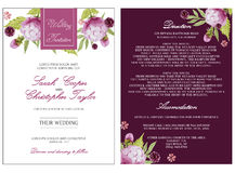 Brautduschkarten-Einladung mit Aquarellblumen Stockfotos