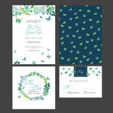 Brautduschkarten-Einladung mit Aquarellblumen Stockfotografie
