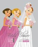 Brautduschvektorkarte mit Braut Stockfotografie