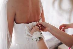 Brautjungfer schnüren sich oben Korsett-Braut-Hochzeits-Kleid lizenzfreies stockbild