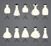 Brautkleider in den verschiedenen Arten Lizenzfreie Stockfotos