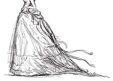 Brautkleidzeichnung Stockbild