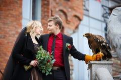 Brautpaare mit Adler Lizenzfreies Stockfoto