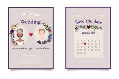 Brautpaarnahaufnahme auf Weinlesehochzeitseinladung mit zusammengebrachtem Datum lizenzfreie stockbilder