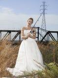Brautschönheit mit der Fischerei Pole Lizenzfreie Stockbilder