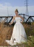 Brautschönheit mit der Fischerei Pole Stockbilder