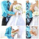 Brautschuhe, wedding Blumenstrauß, Ringe und beige Kleid Stockfotografie