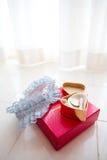Brautstrumpfband u. glückliches Sixpencestück Lizenzfreie Stockbilder