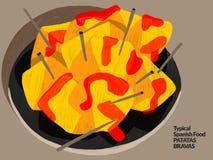 Bravas espagnols de patatas Nourriture espagnole type Illustration illustration libre de droits