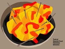 Bravas espanhóis dos patatas Alimento espanhol típico Ilustração Fotos de Stock Royalty Free