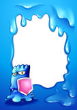 A brave blue monster with a pink shield Royalty Free Stock Photo