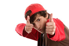 Brave boy shooting from thumbs up Royalty Free Stock Image