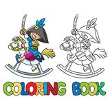 Brave boy on wooden horse. Coloring book Stock Photography