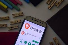 Brave Browser: Fast Adblocker App on Smartphone screen. BEKASI, WEST JAVA, INDONESIA. AUGUST 9, 2018 : Brave Browser: Fast Adblocker App on Smartphone screen royalty free stock image