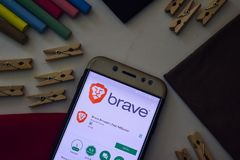 Brave Browser: Fast Adblocker App on Smartphone screen. BEKASI, WEST JAVA, INDONESIA. AUGUST 9, 2018 : Brave Browser: Fast Adblocker App on Smartphone screen stock images