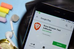 Brave Browser: Fast AdBlocker dev app with magnifying on Smartphone screen. BEKASI, WEST JAVA, INDONESIA. DECEMBER 20, 2018 : Brave Browser: Fast AdBlocker dev stock photography