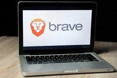 Brave browser logo on a laptop screen, Slovenia - December 23th, 2018 royalty free stock photo