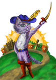 Brave cat in a large boots. Brave cat in large boots shows sword. The sun over the castle Stock Image
