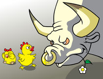 Brave chicken. Brave chick protect his girlfriend royalty free illustration