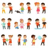 Brave children characters confronting hooligans set, bad boy bullying a smaller kid vector Illustrations on a white
