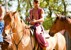 Brave cossack on the horse Stock Image