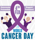 Brave Couple who Fight Against Cancer Commemorating its World Day. Poster in flat style with brave couple with fighting gloves and that they are victorious Royalty Free Stock Image